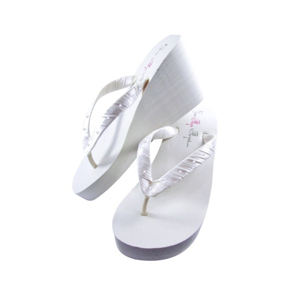flip Bridesmaid's for Wedding shoes accented sandals flop Brides Swarovski Rhinestone qOwx0YIw
