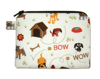 Bow Wow Dog Zipper Coin Purse Small Padded Pouch - Dog Purse - Dog Change Purse