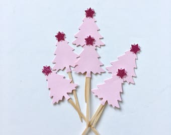 Pink Christmas Tree Cupcake Toppers, Baby Shower Cupcake Topper, 1st Birthday Cupcake Topper