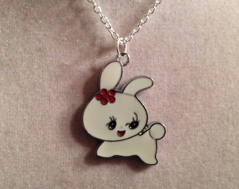 Rabbit Necklace - Silver Jewelry - Pendant Jewellery - Bunny - Children Girls Easter