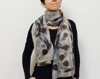 OOAK 100% wool scarf - Woman scarf - Wool scarf naturally dyed - Ecoprinting - Sustainable natural process - Botanically dyed - 46x170 cm