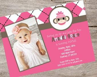 Pink Sock Monkey Invitation with Photo