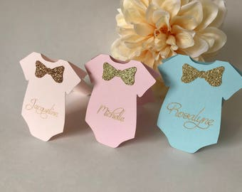 Baby Shower Place Cards, Baby Shower Seating Chart, Onesie Place Cards, Baby Shower Seating, Baby Shower Decor, Custom Baby Shower Seating