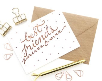 Best friend card, BFF card, Friendship card, Friend anniversary card, Card for girlfriend, Best friends forever card, Card for colleague