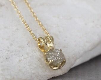 Raw Diamond Necklace - 14K Yellow Gold Filigree Style - Rough Diamond Pendant - Uncut, Conflict Free Diamond - April Birthstone