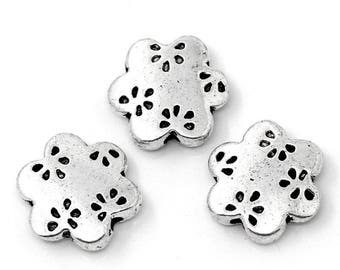 5 beads flat flower engraved CADMIUM-free zinc alloy