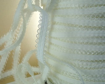5yds White Elastic Lace Trim Stretch Scolloped Trim 1/2 inch  13mm  Raw White Elastic Stretch Lace Headbands Ruffle Elastic by the yard