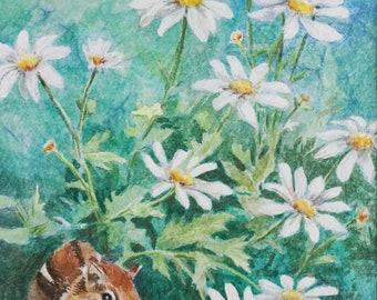 Original Art - Watercolor Painting - Floral - Daisies - Wildlife Art - Chipmunk - Wall Art - Home Decor - Nursery Art - Animal Art