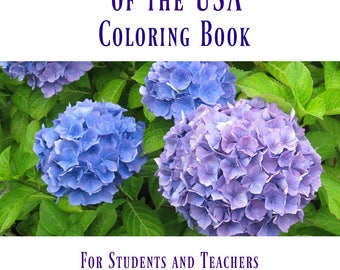 Coloring Book/State Flowers of the USA Coloring Book/Adult Coloring/Botanical Coloring Book/Flower Coloring Book