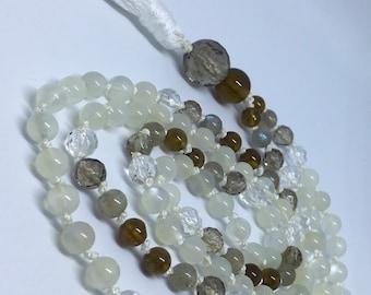 Moonstone Mala, Smoky Quartz Mala, Grossular Garnet Mala, Labradorite Mala, Quartz Mala, White Mala