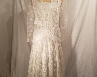 70s Jessica McClintock lace wedding gown, 9/10, excellent, off white