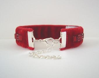 Red Velvet Bracelet, Narrow Ribbon Bracelet, Beaded Bracelet, Womens Bracelet, Adjustable Silver or Gold Clasp, Red Bracelet, Gift For Her