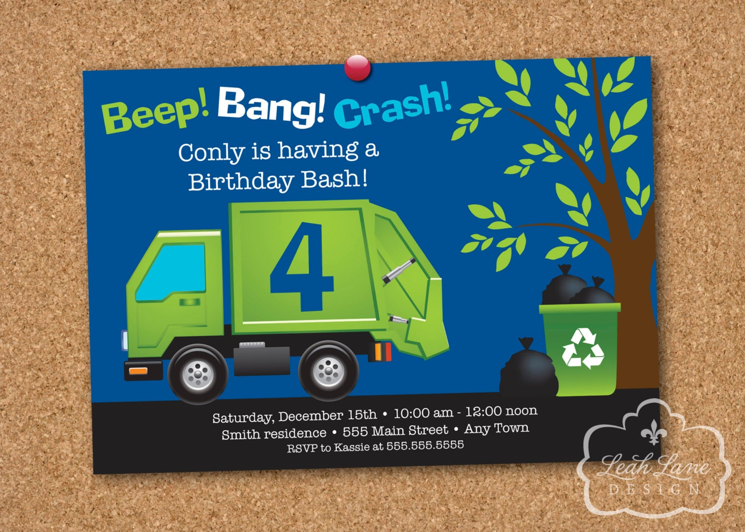 Garbagerecycle truck birthday party personalized printable zoom filmwisefo