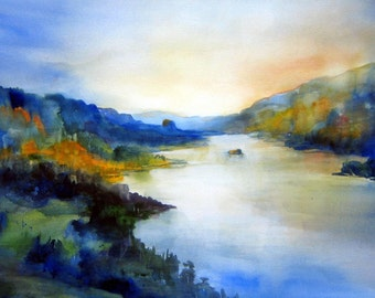Columbia Gorge 92 - signed print - watercolor - Bonnie White - Columbia River Gorge - National Scenic Area