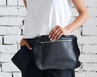 Genuine Leather Black Clutch/Extravagant Mini Bag/Black Leather Tote Bag/Black Clutch Bag/Casual Handbag/Zipper Leather Party Bag/Mini Bag