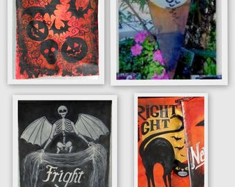 Your Choice ONE Banner Painted Just For You FRIGHT NIGHT Vintage Style Halloween Unique Designs