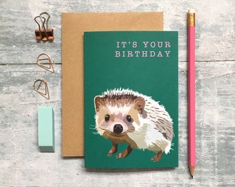 Hedgehog Birthday Card - Hedgehog Card - Birthday Card - Animal Card - Woodland Animal - Hedgehog Greeting Card - Hedgehog