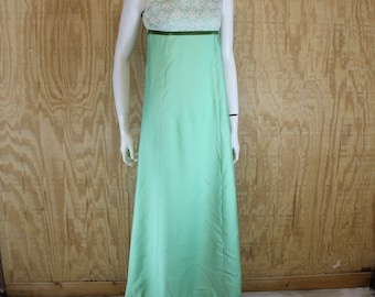 Vintage 1960's LORRIE DEB Green Lace Empire Formal Prom Maxi Dress Small S