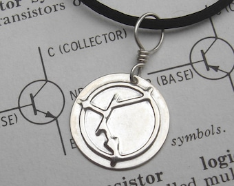 NPN Transistor Symbol Sterling Silver Pendant - Science Jewelry, Electronics, Nerd Necklace, Geekery, Schematic, Circuit, Unisex