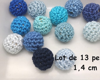 12 pearls (1.4 cm) Blue Mercerized cotton crochet