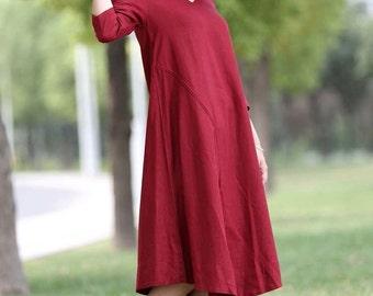 Plus size dress, linen dress, linen tunic, Linen Dress Red, midi dress, causal dress, woman dress midi, linen summer dress, tunic dress C264