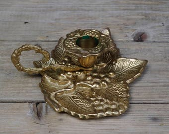 Brass Candlestick Holder with Handle Ornate