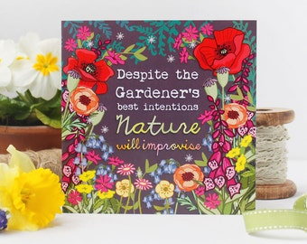 Funny Card - Card For a Gardener - Card For Wife - Card For Husband - Birthday Card - Note Card - Friendship Card