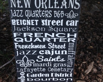 SALE New Orleans City Distressed Wooden Home Decor Housewarming Sign 12x20