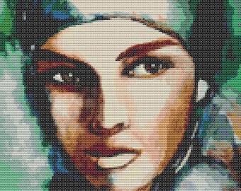 Gypsy Woman Cross Stitch Pattern PDF, Art Cross Stitch Chart, Embroidery Chart