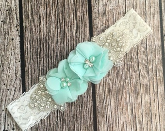 Aqua pink headband, rhinestone headband, flower girl headband, vintage headband, lace headband, rhinestone and pear, flower girl