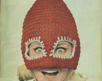 CROCHET HAT PATTERN Vintage 70s Crochet Mad Hat Pattern Crochet Ski Hat Pattern, Crochet Luchador Mask Pattern Crochet mexican wrestling hat