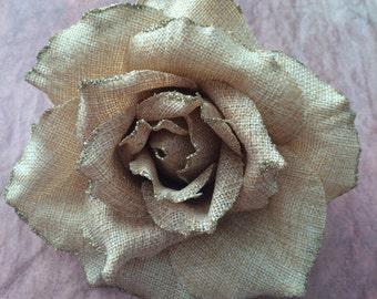 Light Burlap Glitter Flower - Rose hair clip