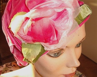 1960s Custom Made Draped Velvet Rose Trim Cloche Item # 857