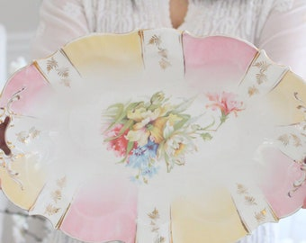 OVAL BOWL, Porcelain Oval Bowl with Handles, Tea Party, Gifts for Her, Hostess Gift