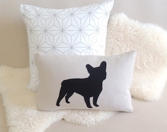 French Bulldog Pillow Cover - Modern Black Frenchie Appliqué