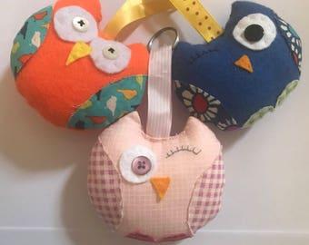Cute fabric owl key ring