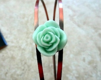 copper bronze head band with mint rose 20mm birthday, wedding, anniversary