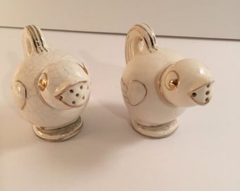 SUMMERSALE Gold and White Song Birds Made in Japan Salt and Pepper Shakers