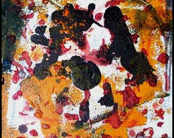 Original Painting - Abstract Painting with Blacks, Yellows & Reds by David Lawter