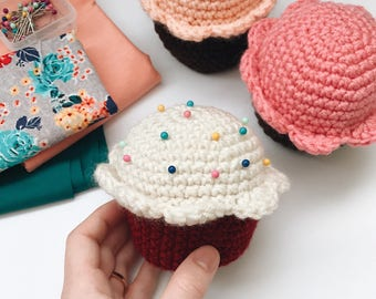 50% OFF SALE - Cupcake Pincushion (Choose Your Color), Crocheted