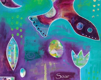 Soar -42-Mixed Media Painting by Carianne James