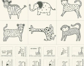 Cute Animal Print Panel in Cream and Charcoal Gray from the Savannah Collection by Gingiber for Moda
