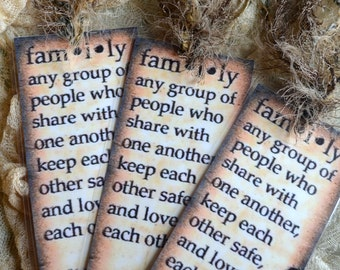JUST LIKE FAMILY One BOOKMaRK TaG  altered art journal scrapbook collage recovery survivor healing journey therapy encouragement