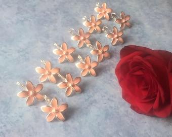 Six Bridesmaid gifts, set of 6 earrings, pink earrings, wedding jewelry, bridesmaid jewelry, wedding gifts, vintage earrings,