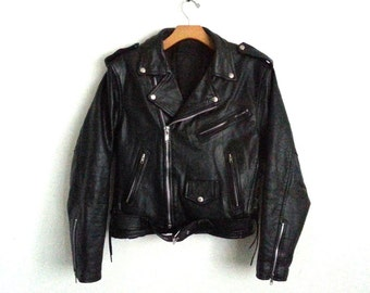 Vintage Black Leather Motorcycle Jacket  Men's