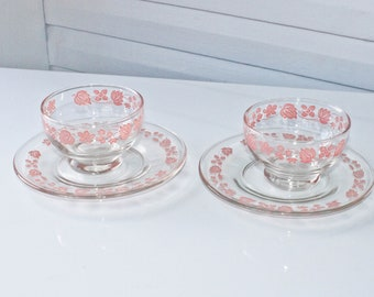 Vintage Pink Gooseberry Saucers and Custard Cups-Bowls-Plates-Pyrex Gooseberry Look a Like