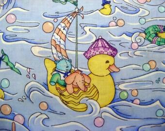 Fat Quarter Cute Rubber Duck Elepant Pig Sailing Novelty Baby Nursery Animals Noah's Ark Fabric Bible  - Leslie Beck VIP Cranston USA - OOP