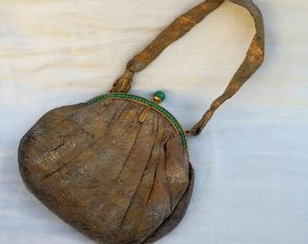 Antique Silk and Jade Brocade Purse