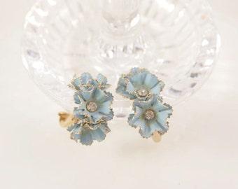 Wedding Blue Earrings Forget Me Not Earrings Bridal Something Blue Enamel Baby Blue Delicate Earrings 1950s Mad Men Lady's Valentine Gift