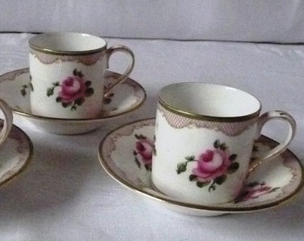 Pair of Early 20thc. Crown Staffordshire China Coffee Cups and Saucers - Pink Roses